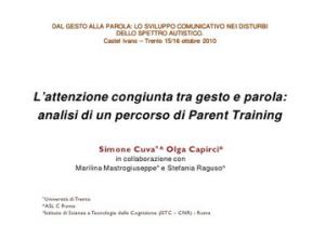 L'attenzione congiunta tra gesto e parola: analisi di un percorso di Parent Training