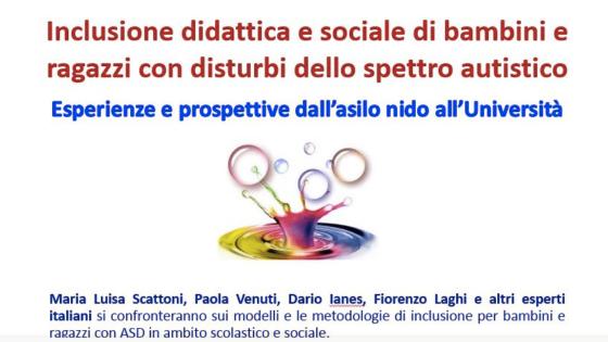 Inclusione didattica e sociale di bambini e ragazzi con disturbi dello spettro autistico  -Rovereto 25 e 26 ottobre 2019